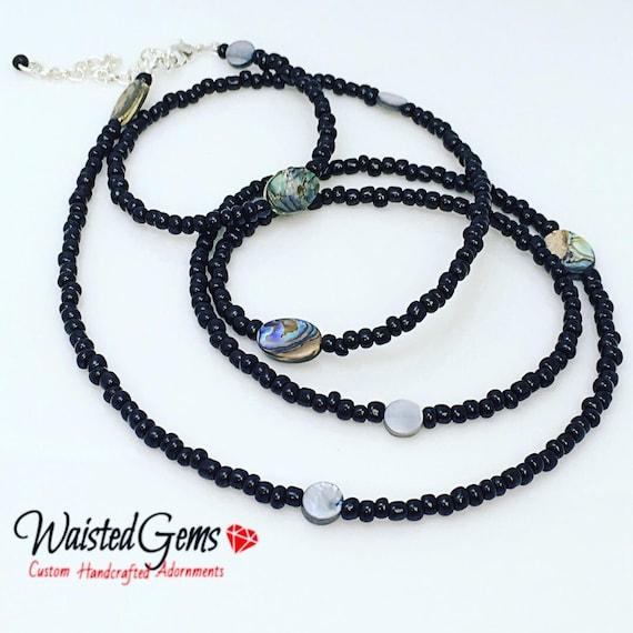 Abalone Black Waist beads, Belly Chain, Body Beads, Bikini, African Waist Beads, Boho Jewelry, waist beads zmw4734.9