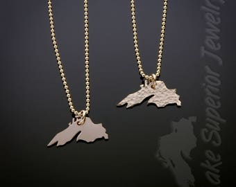 14K Gold Filled Hand Sawn Lake Superior Necklace