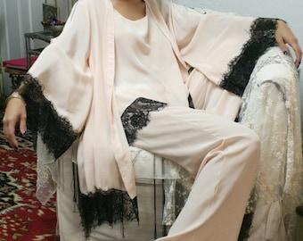 Silk Kimono Robe with Black Lace Trim Peach Silk Bridal Robe Lingerie