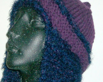 KNIT HAT WOMAN Ear Flap Hat Knitted Chunky Bulky  Teens  Woman  Earwarmer Soft Warm Grape Color