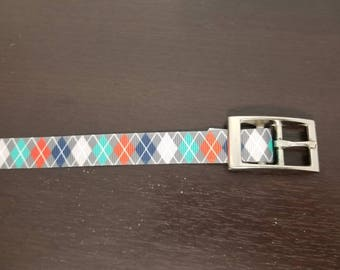"3/4"" Got Blue and Red Argyle Dog Collar"