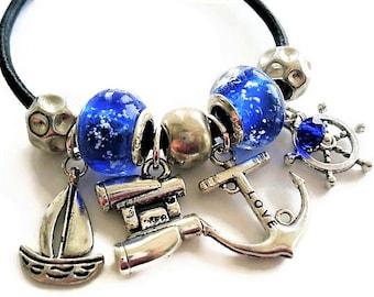 Nautical Bracelet Beach Jewelry Leather Bracelet Bohemian Jewelry Anchor Bracelet Blue Jewelry Charm Bracelet Summer Jewelry Gift For Women