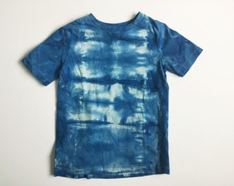 indigo dye t shirt - organic cotton - shibori - toddler shirt - blue