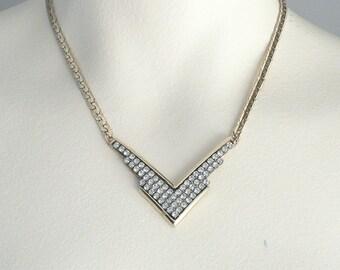 Elegant Gold Rhinestone Necklace