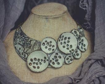 FREE SHIPPING Statement necklace Bib necklace polymer clay necklace ivory necklace  modernist jewelry boho necklace choker necklace