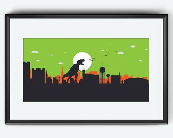 Fargo skyline print, Fargo, Fargo art, Fargo print, Fargo poster, Dinosaur art, Dinosaur print, poster, Dinosaur artwork, Dinosaur Wall art