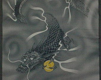 Dragon Fabric Furoshiki Cloth Asian Fabric Gray Cotton 'Dragon' Japanese Fabric Square w/Free Insured Shipping