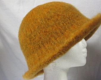 Hat Wool Felted Pumpkin with Flared Brim