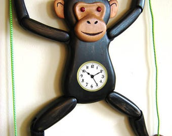 Hanging Articulated Chimpanzee Wooden Clock