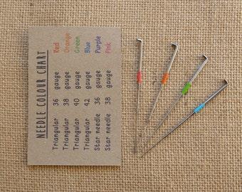 32 mixed triangular felting needles - 36, 38, 40, 42 gauge - needle felting - rainbow colour - wool roving- animal - miniature- kawaii