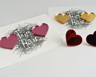 Love Heart Stud Earrings - Shiny acrylic - Mirrored plastic - Laser Cut