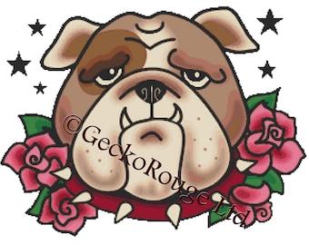 Modern Cross Stitch Kit By Fluff ' Boris' - BullDog Tattoo NeedleCraft, Bul Dog Art, Dog Cross Stitch Kit
