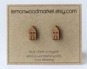 Little house earrings - alder laser cut wood earrings