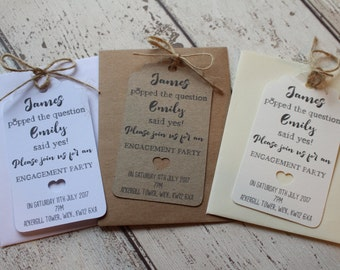 Personalised Wedding Engagement Invitations-Save the date tags with envelope