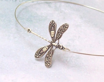 Dragonfly Bracelet, Dragonfly Bangle, arm bracelet, stacking bracelet, silver dragonfly, minimal, stainless, hypo allergenic, boho, insect