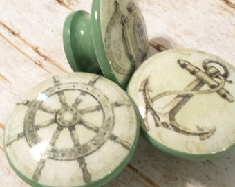 Handmade Nautical Knobs Drawer Pull Set,  3 Sage Green Vintage Style Knobs, Under the Sea Dresser Knob Pulls, Sailing, Anchor,