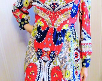 Vintage 60s 70s Mod Dress Psychedelic Print, Red Navy Blue Yellow Beige Pop Art Paisley Flowers, Long Sleeves Polyester Dress Carnaby Street