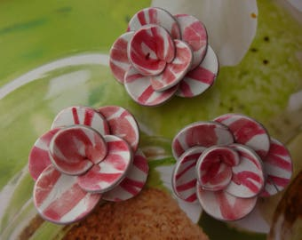 FLOWERS FIMO DECO GRAPHIC RED AND WHITE