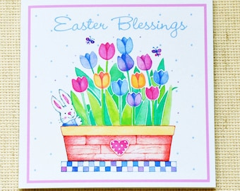 Easter Cards, Cute Easter Cards, Tulips, Tulip Cards, Cute Bunny Cards, Easter Blessings, Easter Bunny, Cute Easter Bunny Card