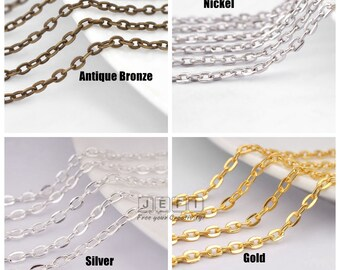 Wholesale 10 Meters Metal Base Chains- Flat oval link 4x3mm/ 3x2mm- Antique Bronze/ Silver/ Gold/ Nickel- A4528
