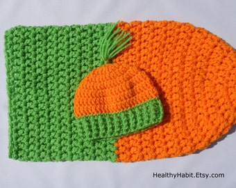 Carrot Costume, Halloween Costume, Baby Sleeping Bag, Carrot Top Hat, Infant Girl Item, Baby Boy Item, Baby Crochet, Newborn Photo Prop