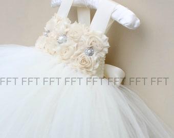 Champagne Ivory Flower Girl Tutu Dress