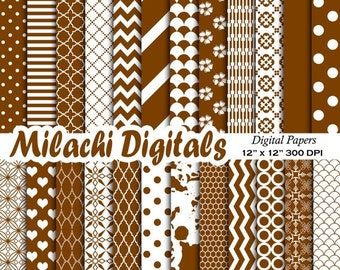 60% OFF SALE Chocolate brown digital paper, background, scrapbook papers, stripes, chevron, polka dots, hearts, fish scales - M353