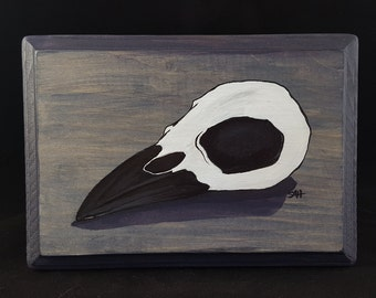 Crow Skull acrylic painting on wood plaque
