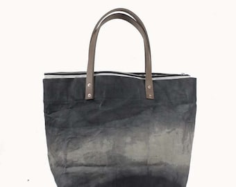 Large Waxed Cotton Canvas Tote Bag w/Liner - Gray - Leather Handles