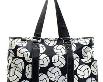 Monogrammed Volley Ball pattern Utility Tote Bag, travel bag, beach bag