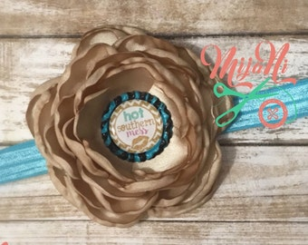 Hot Southern Mess - Adjustable Headband - Elastic - FOE - Satin - Singed Flower - Bottle Cap - Tan - Blue - Baby - Child - Teen - All Ages
