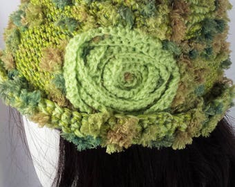 knitted mixed fiber hat with rosette, A100