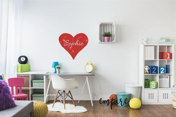 Red Canvas Style Heart Wall Decal with Name