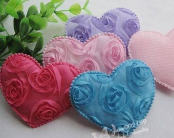 Large applique heart and pink polyester (x 4)