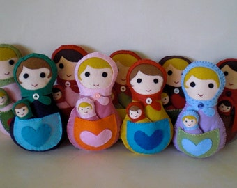 Felt Matryoshka doll, Felt Doll with baby