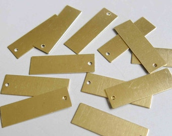 100pcs Raw Brass Rectangle Charms,Stamping Tags Findings 28mm x 9mm - F211