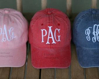 Ladies' Monogrammed Baseball Cap-Fishtail Monogram-Monogrammed Ballcap-Bridesmaids gift-Preppy Ballcap-Sorority  cap- Ladies' gift Idea
