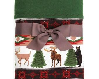 Baby Boy Flannel Blanket - Woodland Baby Blanket - Baby Boy Gift - Rustic Baby Blanket - Woodland Nursery - Baby Girl Blanket - Cot Blanket