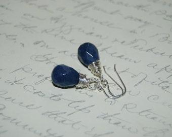 Navy Blue  Quartzite Stone Artistic  Wire Wrap Earrings .