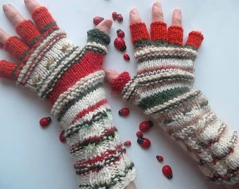 Women Size L 20% OFF OOAK Half Fingers Wool Mittens Wrist Warmers Ready To Ship Gloves Winter Unisex Hand Knitted Gift Multicolor Striped 85