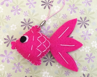 Puffy Felt Pink Goldfish Ornament, Felt Hanging Decoration, Felt Keychain, Felt Toy, Felt Fish, Felt Gold Fish, Cute Gift