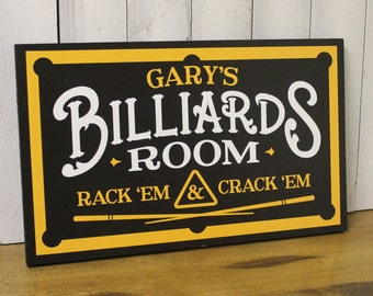 Personalized Billiards Room Sign/Man Cave/Father's Day/YOU choose Name and Colors/Pool Table/Male Gift/Wood Sign/Hand Painted/Black/Yellow
