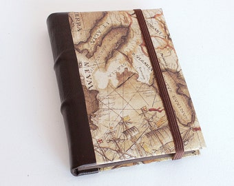 Leather Journal - Vintage Map