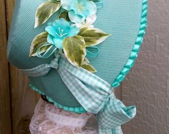 Aqua 1860s Poke Bonnet