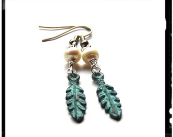 Freshwater pearl and feather earrings