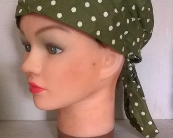 1960s olive green polka dot bandana sunbonnet hat, cotton headscarf