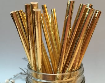 Gold Foil Paper Straws,Gold Straws, Holiday Paper Straws, Holiday Party, New Years Eve, Holiday Straws, 10 pcs
