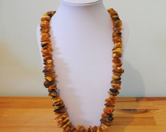 Necklace raw Baltic amber natural, 109 grams