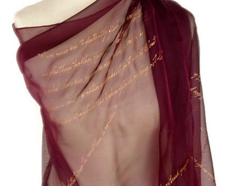 Gone with the Wind Margaret Mitchell, Literary Scarf, Hand Painted Silk Extra Large 16X54 inch Gift-Wrapped, READY to Ship Immediately