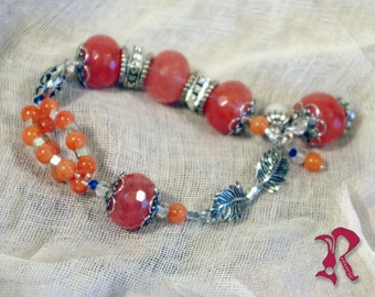 Bracelet with Natural Rose Quartz and Silver